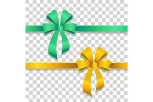 Green and Yellow Wide Ribbons with Bright Bows