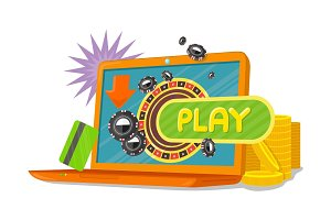 Online Games Banner Laptop Casino Roulette Wheel