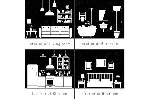Interior silhouettes of flat rooms