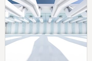 Empty white interior. 3D rendering