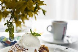 Apple strudel with ice cream