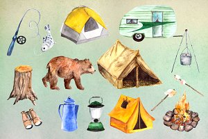 Watercolor Camping Clip Art Set