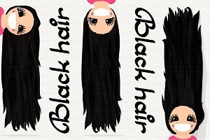 ♥ vector Girl graphics. Black hair