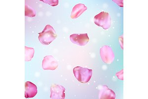Pink rose petals. Realistic vector illustration