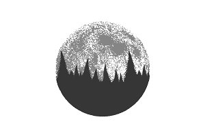 Silhouette of the forest on full moon background