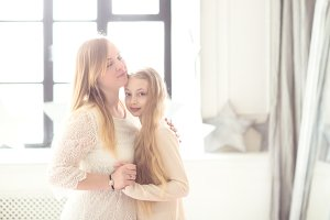 blond mom and daughter teen