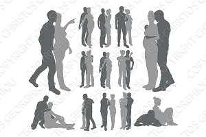 Couple silhouettes pregnant woman