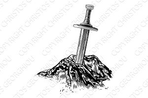 Excalibur Sword in the Stone Illustration