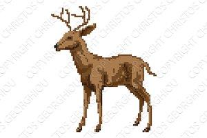 Pixel art deer illustration