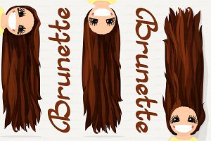 ♥ vector Girl graphics. Brunette