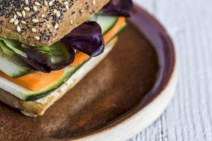 Vegan burger with fresh vegetables