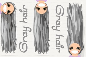 ♥ vector Girl graphics. Gray hair