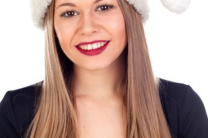 Pretty woman with Christmas hat