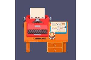 Realistic typewriter workplace organization background Flat illustration