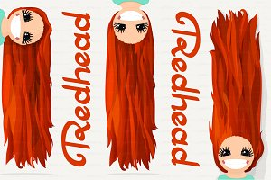 ♥ vector Girl graphics. Redhead.