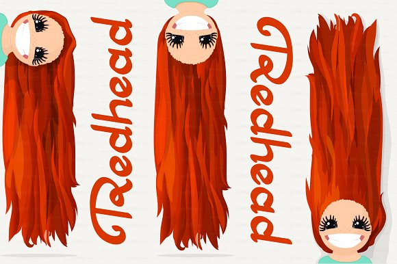 vector Girl graphics. Redhead.