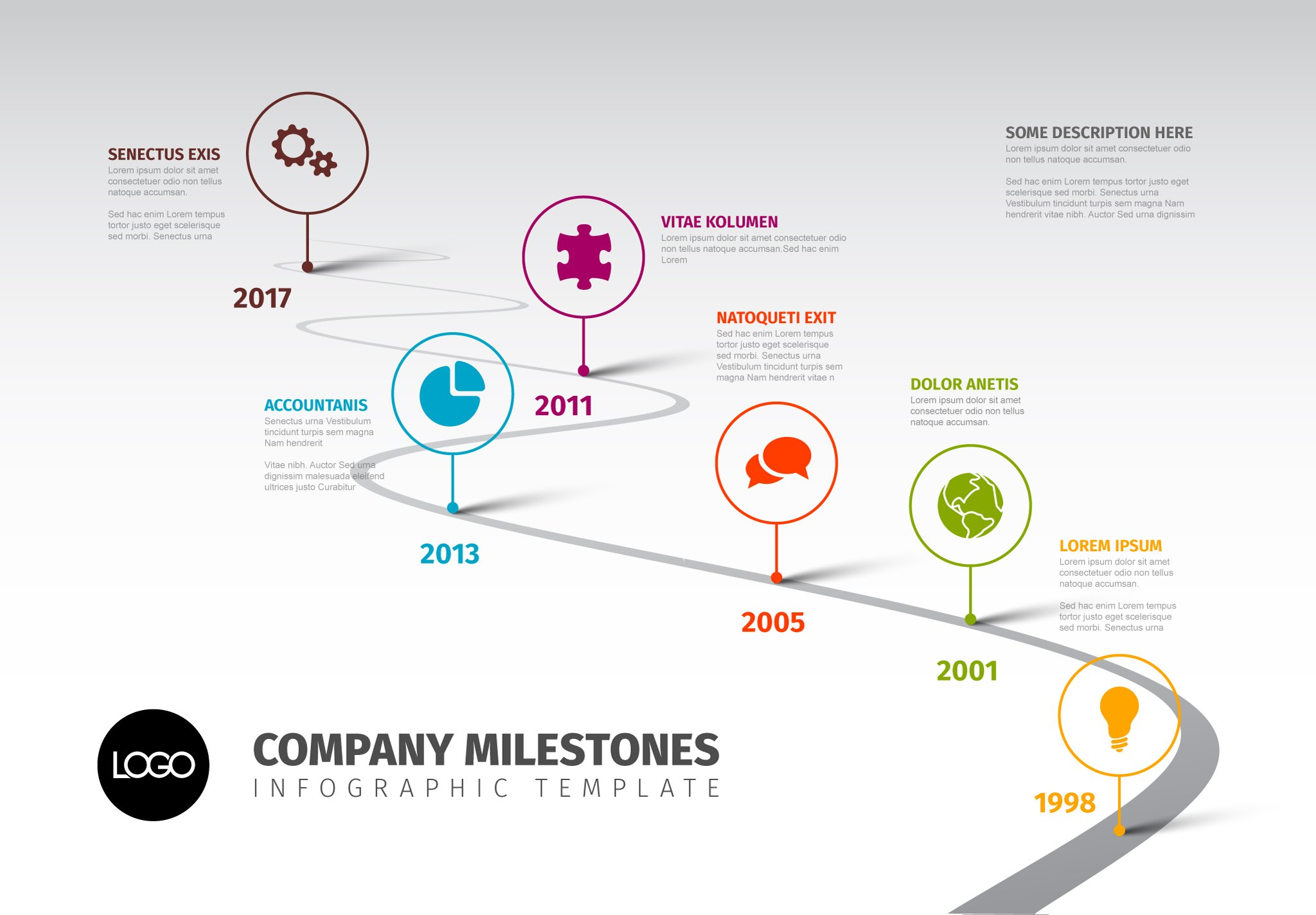 Timeline template with icons presentation templates for Timline template