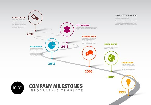 Timeline Template With Icons Presentation Templates Creative - Milestone timeline template