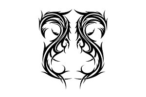 Abstract hand drawn tribal tattoo design.