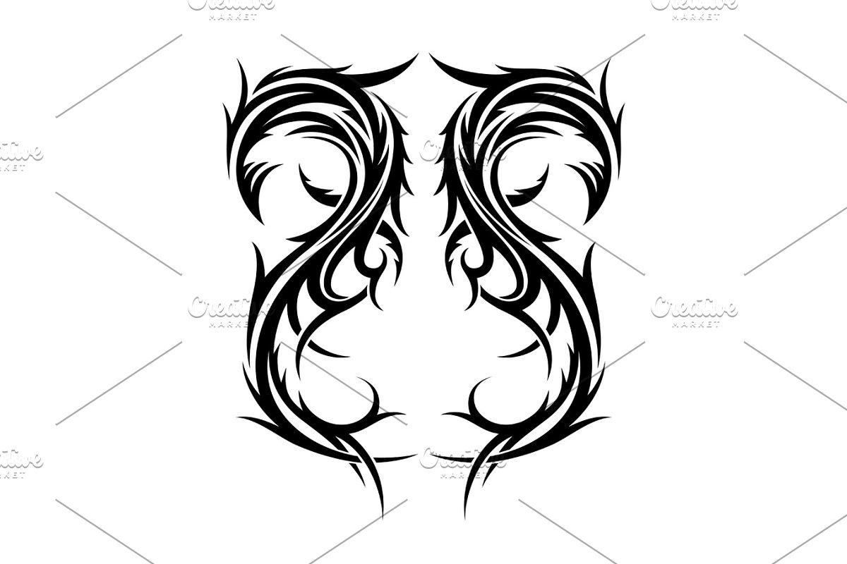 6b715d9ca722c Abstract hand drawn tribal tattoo design. ~ Illustrations ~ Creative ...