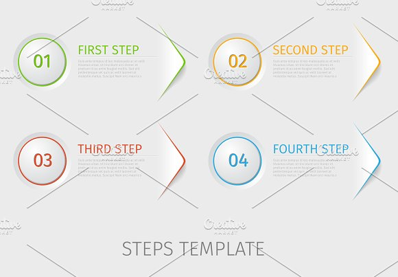 four steps prorgess template graphic objects creative market