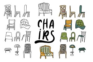 chairs doodle illustration