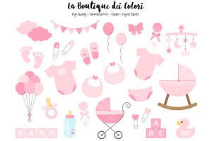 Pink New Baby Girl Clipart