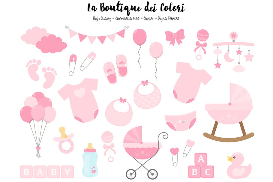 Pink New Baby Girl Clipart Illustrations Creative Market