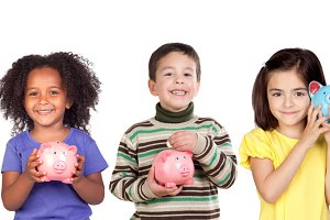 Children with moneybox