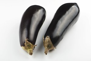 Two aubergines on white background. Isolated.
