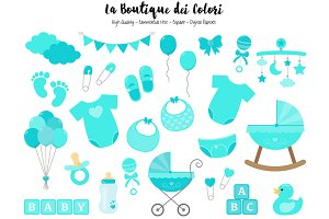 Turquoise New Baby Clipart