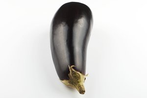 Aubergine on white background. Isolated.