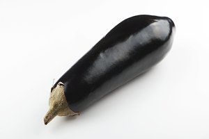 Close-up of aubergine on white background. Isolated. Food.