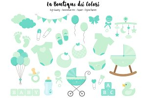 Mint Baby Shower Clipart