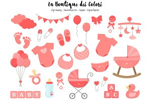 Coral Red Baby Shower Clipart