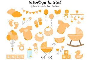 Orange Baby Shower Clipart