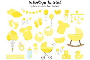 Yellow Baby Shower Clipart