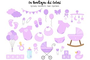 Purple Baby Shower Clipart