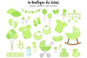 Green Baby Shower Clipart