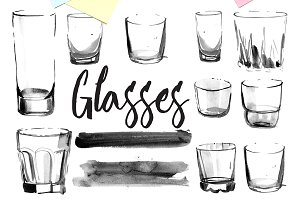 glassware, glasses. Watercolor