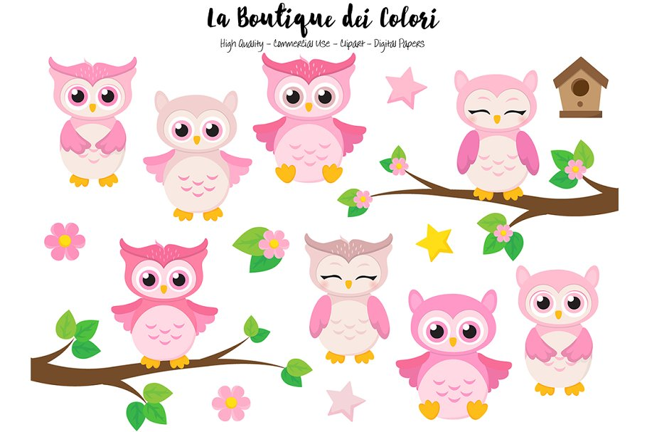 Owl pink. Cute owls clipart