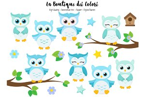 Cute Blue Baby Owls Clipart