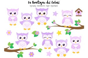 Cute Purple Baby Owls Clipart