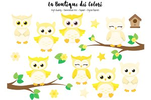 Cute Yellow Baby Owls Clipart
