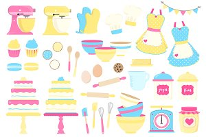 Yellow and Blue Baking Clipart