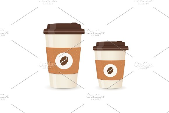 Realistic Paper Coffee Cup Set Large And Small Sizes Coffee Take Away Vector Illustration