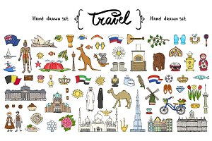 Vector set on the theme of travel