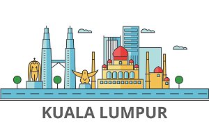Kuala Lumpur city skyline: buildings, streets, silhouette, architecture, landscape, panorama, landmarks. Editable strokes. Flat design line vector illustration concept. Isolated icons on background