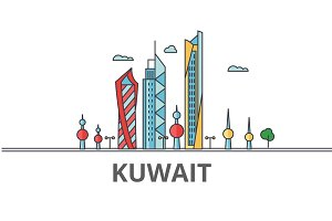 Kuwait city skyline: buildings, streets, silhouette, architecture, landscape, panorama, landmarks. Editable strokes. Flat design line vector illustration concept. Isolated icons on white background