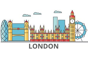 London city skyline: buildings, streets, silhouette, architecture, landscape, panorama, landmarks. Editable strokes. Flat design line vector illustration concept. Isolated icons on white background